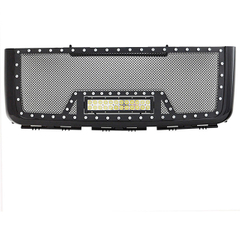 07-10 GMC Sierra 2500HD/3500HD All Evolution All Black Stainless Steel Wire Mesh Packaged Grille With One LED Light for GMC Sierra