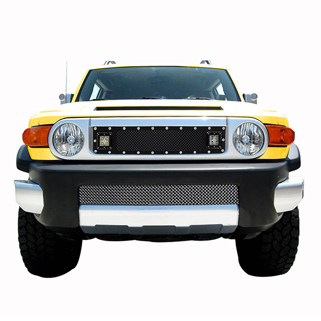 07-15 Toyota FJ Cruiser Cutout Evolution Stainless Steel Wire Mesh Grille Black w/ LED for Toyota FJ Cruiser