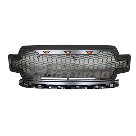 "Grey ABS Grille With Amber Led Lights ""F"" & ""R"" Removable"